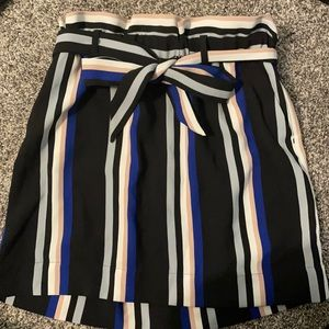 Express striped skirt with sash bow